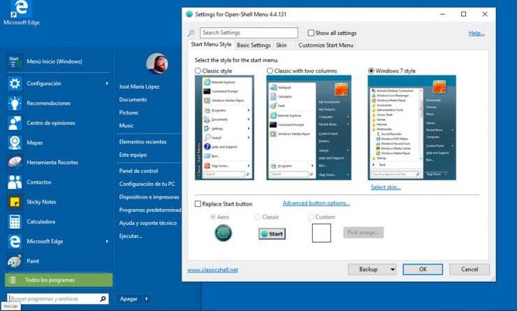 activar menu clasico windows 10